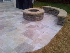 patio fireplaces and fire pits | travertine patio with fire pit and retaining wall - Outdoor Fireplaces ...