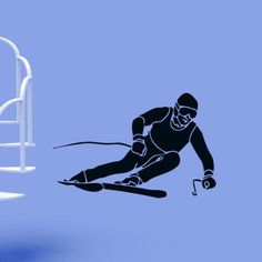 Skier Ski Extreme Winter Sport Wall Decor Vinyl Stickers Room Decals Home…