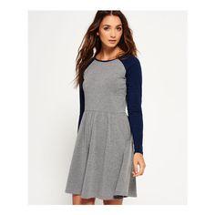 Superdry Skater Baseball Dress (£18) ❤ liked on Polyvore featuring dresses, grey, 3/4 sleeve skater dress, gray skater dress, grey dress, three quarter length sleeve dresses and 3/4 length sleeve dresses