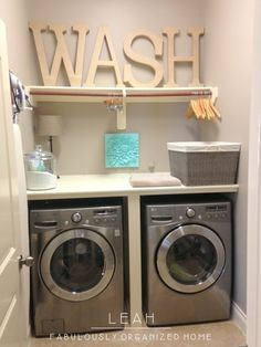 how I put together the wash + dry + fold station in our laundry room