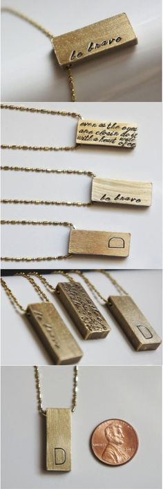 Gold Bar Raw Brass Personalized Rustic Necklace by River Valley Designs | Hatch.co    A gorgeous, thick 1 inch long solid raw brass bar is hand stamped by me with the initial, name or quote of your choice. This gold brass rectangle bar is substantial in weight and is strung on beautiful solid 1.2mm raw brass ball chain that's faceted for just a little shimmer. It compliments the rustic finish of the personalized piece perfectly.