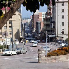 Looking down Edward Street, Brisbane - 1969. Some of these buildings are still there now. - the red brick building with the balconies is now a backpackers' hostel.