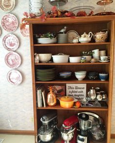 Don't have enough kitchen cabinets or storage ? No problem! Transform a solid wood #bookcase into #kitchen-shelves ❤️beautiful and functional. I used to keep most of my #china-plates, #Japanese #bowls in closed cabinets and would forget to use them or wait for a special occasion. Nope going to use them all now !  #
