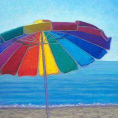 """ Summer Memories"" Soft Pastel on Wallis Archival paper Available! Under My Umbrella, Beach Umbrella, Umbrella Painting, Umbrella Art, Rock Painting, Canada Images, Summer Memories, Beach Art, Sunset Beach"
