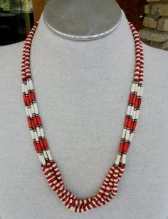 Vtg 1980s Natural White Dyed Red Cow Bone Boho Tribal Necklace #NotSigned #Tribal