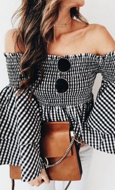 off shoulder gingham tops + white jeans + Chloe faye #ootd
