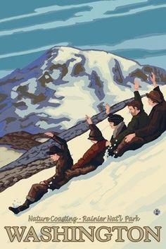 Mount Rainier, Washington - Nature Coasting - Lantern Press Artwork