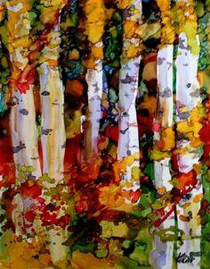 """""""Birches challenge 3"""" - Original Fine Art for Sale - © by Kristen Dukat"""