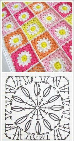 Easy to make crochet granny square pattern. Free crochet chart by Color'n creamColor 'n Cream Crochet and Dream: New Flower Squarecrochê passo a passo ( Crochet Bedspread Pattern, Crochet Motifs, Granny Square Crochet Pattern, Crochet Mandala, Crochet Diagram, Crochet Chart, Crochet Squares, Crochet Blanket Patterns, Crochet Granny