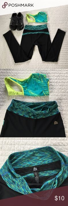 RBX Fitness Legging - Size S Super cute and comfy blue, green and black Fitness Leggings with a pocket for your key (or chapstick!) slight pilling has collected on some seams but isn't really noticeable. Time to start those New Years resolutions for a healthy lifestyle! RBX Pants Leggings