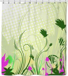 Playful doodle flower in nature design Custom Shower Curtains, Flower Doodles, New Product, Fantasy, Artist, Flowers, Bath, Etsy, Nature
