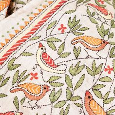 Hand-embroidered Silk Scarf: 167 Birds - SHE India ♥ Kantha www. Embroidered Silk, Wearable Art, Birds, Embroidery, Creative, Scarves, Crafts, India, Google