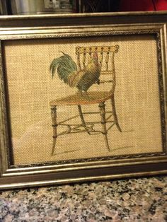 Vintage look rooster on burlap by WalkaboutWay on Etsy