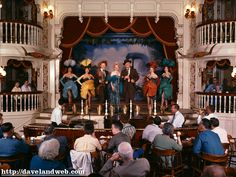 Walt on Stage!  The Golden Horseshoe opened with Disneyland in July 1955. In fact, the first performance was held here the evening of July 13, in honor of Walt and Lillian Disney's 30th wedding anniversary. Walt came back to see the Golden Horseshoe Revue many times over the years, taking in the performance from his private booth (the one upstairs on the left). That original show ran through October 1986, becoming one of the longest-running shows in theater history.