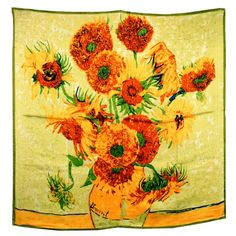 100% Luxurious Charmeuse Silk Van Gogh`s Sunflower Hand Rolled Edges Square Scarf Shawl