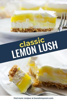 This lemon lush is a classic recipe from years ago that you'll want to make every summer! Layers of cheesecake and lemon pudding with a crisp Nilla wafer crust! #lemon #cheesecake #nobake #dessert Lemon Lush Recipe, Lemon Lush Dessert, Lemon Dessert Recipes, Homemade Desserts, Lemon Recipes, No Bake Desserts, Easy Desserts, Delicious Desserts, Icebox Desserts