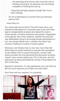 I would be more likely to believe this if more places tried this experiment. I'm not saying I don't believe it, I'm just saying that more schools should do this experiment. My Tumblr, Tumblr Posts, Youre My Person, Patriarchy, Faith In Humanity, Social Issues, Social Justice, In This World, Equality