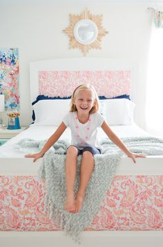 DIY Upholstered bed in a big girl room - love the look!