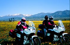 Stopping to smell the flowers on the Transalps outside Jackson, Wyoming. This photo was published in an article about motorcycle travel in Wyoming, which was published in the September 2004 issue of Rider magazine.