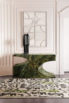 This luminous entryway in a white ambience is being accentuated by BRYCE II Console with its green faux-marble, matching the INKAHOLIC Green undertones. Highlighted by the CYRUS Table Light, this passageway can and will bring tranquillity into your home.