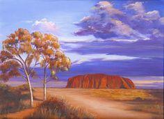 Uluru - Ayers Rock Canvas Print / Canvas Art by Robynne Hardison Australian Painting, Australian Art, Landscape Tattoo, Landscape Paintings, Landscapes, Australia Tattoo, Ayers Rock, Stretched Canvas Prints, Canvas Material