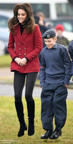 Catherine, Duchess of Cambridge plays a game with RAF Air Cadets during a visit to the RAF Air Cadets at RAF Wittering on February 14, 2017 in Stamford, England.