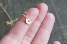 Tiny Personalized Initial Gold Dot Necklace / Organic Free-Form Disc Pendant with your Choice of lowercase initial on Etsy, $25.00