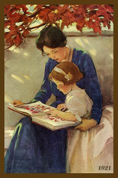 Quilt Block of 1921 painting of Mother and Daughter Reading by Jessie Willcox Smith printed on cotton. Ready to sew.  Single 4x6 block $4.95. Set of 4 blocks with pattern $17.95.