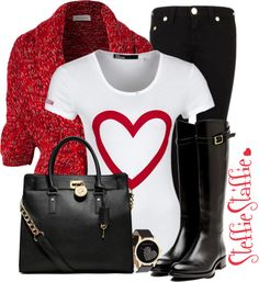 """""""Valentine's Day Casual"""" by steffiestaffie on Polyvore"""