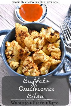 Roasted Buffalo Cauliflower Bites are a perfectly delicious Whole30, Paleo, or Keto snack. Use this recipe as an appetizer at a party or a side dish with dinner. It will be loved no matter what it is served with. · Baking With Bullets #keto #whole30 #dairyfree #glutenfree #healthy #cleaneating Ways To Cook Cauliflower, Buffalo Cauliflower Bites, Cauliflower Dishes, Side Salad Recipes, Side Dish Recipes, Dinner Recipes, Healthy Recipes, Easy Recipes, Easy Meal Prep