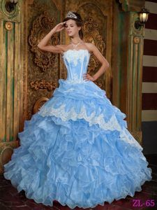Popular Aqua Blue Organza Sweet Sixteen Dress with Appliques and Ruffles  Light Pink Quinceanera Dresses 1f7ffadf8618