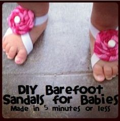 Sewing Baby Girl How to Make Barefoot Sandals for Babies - Don't spend lots of money these when you can learn how to make barefoot sandals for less than a dollar! These are so very easy and cheap to make! No sew! Handgemachtes Baby, Baby Bows, Baby Girl Hair Bows, Sew Baby, Baby Barefoot Sandals Diy, Barefoot Shoes, Diy Bebe, Handmade Baby Gifts, Diy Headband