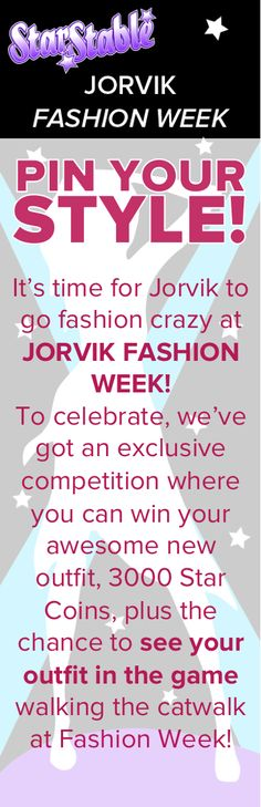 Enter our Jorvik Fashion Week PIN YOUR STYLE competition! It's time for Jorvik to go fashion crazy at JORVIK FASHION WEEK! To celebrate, we've got an exclusive competition where you can win your awesome new outfit, 3000 Star Coins, plus the chance to see your outfit in the game walking the catwalk at Fashion Week!