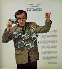 Woody Allen Poses with a Bunch of Rangefinders for Playboy Don't worry, he's not naked. Back in their May 1966 issue, Playboy took a closer look at the then-current and upcoming camera gear, with. Celebrity Photographers, Famous Photographers, Woody Allen, Vintage Poster, Vintage Ads, Photography Camera, Vintage Photography, Foto Picture, 7 Arts