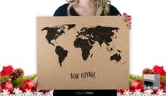 Cork Push Pin Travel Map  16x20  Bon Voyage  by RasurePrintsLLC