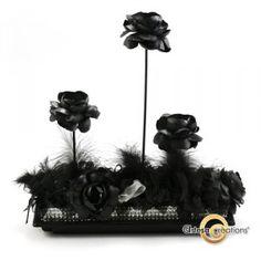 Centre de table Fleurs Noir et Plume - Suspension Feeling Great, Fun, Black N White, Centerpiece Flowers, Feather, Hilarious