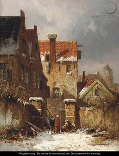 Figures conversing in a Dutch town in winter - Adrianus Eversen