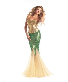 Limited time only Halloween costumes $6.99 and up Look at this #zulilyfind! Green & Gold Sequin Water Nymph Costume Set - Women #zulilyfinds $49