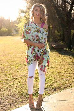 The Harper Chiffon Tunic in Mint Kiss Floral