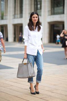 white shirt chic. Leila in NYC. #LeilaYavari