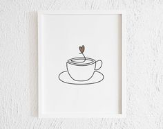 Cup of Coffee with a Heart Doodle Print. Printable Minimalist Coffee Drawing Interior Home Decor. One Line Cafe Illustration Wall Art Coffee Cup Drawing, Coffee Doodle, Coffee Art, Coffee Cups, Drawing Cup, Coffee Tattoos, Cup Of Coffee Tattoo, Buddha Drawing, Doodle Wall