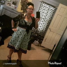 Instagram media by catslikeus - Here's our awesome customer Jodee rockin' her Meat Party BBQ Dress! I love the coordinating bone hair clip, and of course her strappy shoes and shaved side of her head beehive hair do! #catslikeus #catslikeusstyle #weloveourcustomers @sourpussclothing #beehive #bbq #bbqdress #lacebolero #strappyshoes #girlswithglasses @cummingsjlc