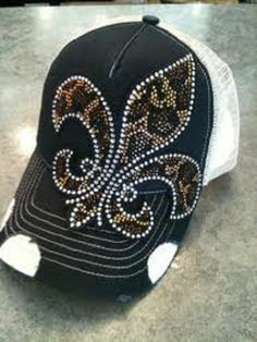 c7bec4a2ed91e Olive Pique Leopard Fleur de Lis Rhinestone Bling Trucker Hat Cap The  Buckle