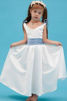 Sky Blue Satin A Line Flower Girl Dress Floor Length with Bow Cheap Flower Girl Dresses, Cheap Prom Dresses, Cheap Wedding Dress, Bridesmaid Dresses, Formal Dresses, Wedding Dresses, Elegant Flowers, Plus Size Wedding, Blue Satin
