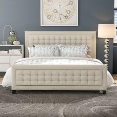 Upholstered Platform Bed King, Upholstered Beds, Cama Design, Bed Design, Panel Headboard, Panel Bed, Bedroom Bed, Bedroom Decor, Queen Murphy Bed