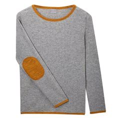 Grey & Gold Cashmere Elbow Patch Sweater   Orwell + Austen Cashmere   Wolf & Badger / / New to Orwell + Austen is our grey and gold elbow patch sweater. This sweater is a classic round neck cashmere blend sweater with gold elbow patches, and gold trim at the cuff, collar and hem. The main body of the sweater is made from a cashmere and fine wool blend, whilst the silver detail is a blend of cashmere and lurex yarn.