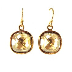 Golden Crystal Earrings Swarovski Earrings Cocktail by manictrout