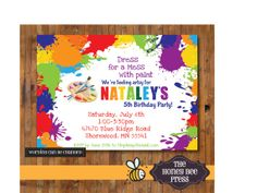 Art Party Invitation - Splatter Paint Birthday Invitation by The Honey Bee Press