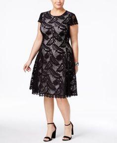 Alfani Plus Size Lace Fit & Flare Dress, Only at Macy's - Dresses - Plus Sizes - Macy's Vestidos Plus Size, Plus Size Gowns, Review Dresses, Plus Size Dresses, Plus Size Outfits, Curvy Fashion, Plus Size Fashion, Xl Mode, Casual Dresses