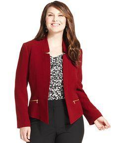 Tahari ASL Plus Size Open-Front Textured Jacket